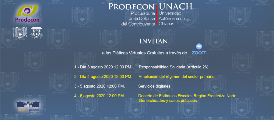 PRODECON - UNACH te invitan a los seminarios virtuales gratuitos.